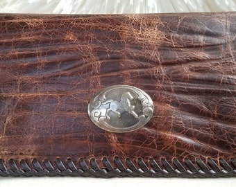Soft Rustic Brown Leather Wallet, Slim Long Leather Wallet, 5 CardSlot/4 Pocket Leather Interior, Ant/Silver Horse Accent, HandLaced