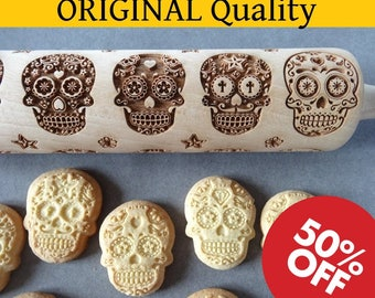 Day of Death Sugar Skulls engraved rolling pin + Cookie cutter - guaranteed delivery before 30 October or refunded