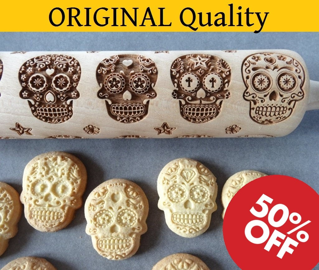 Day Of Death Sugar Skulls Engraved Rolling Pin Cookie Cutter