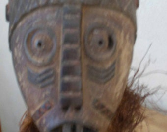 EXCEPTIONAL Democratic Republic of the Congo.   Mask anthropomorphic wooden scarifications under the eyes