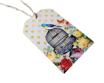 Set of 8 Birdcage and Floral Roses GIft Tags with Twine
