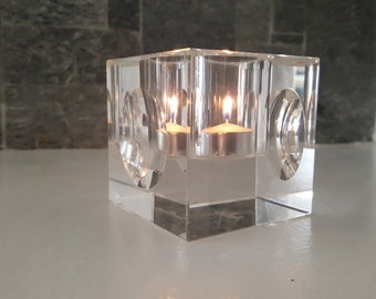 Rosenthal Crystal Votive - Tea Light Holder - Crystal Cube - Candle holder - Beautiful Optical Effects