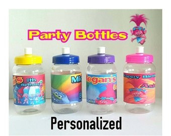 10 Trolls Party Favors- Party Bottle Favor Containers. Trolls Favor Containers. Trolls Party.16oz./500ml.*FREE Shipping *