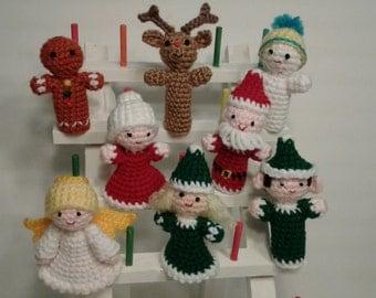 Crochet finger puppets, Christmas puppets