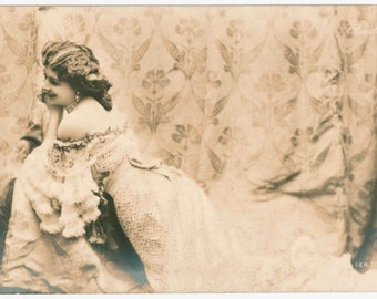 Belle epoque actress Mary Roesler, antique postcard, 1905, art nouveau backdrop, sepia, vintage glamour, theatre, stage, undivided back, old