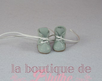 Green leather Boots for Blythe doll-boots green in skin for Blythe