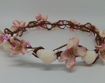 Rustic Floral Shell Circlet