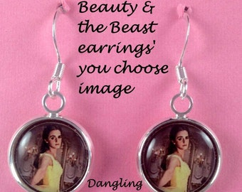 Beauty and the beast earrings,you choose image,beauty and the beast,jewelry,earrings,bracelets,necklaces,gifts,charm bracelets,charms