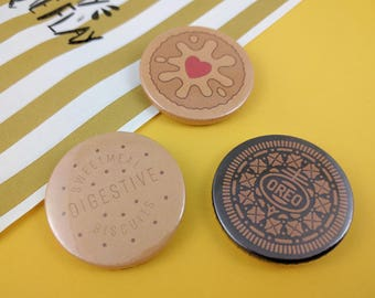Biscuit | Digestive | Oreo | Jammy Dodger - Fun Button Badges. Cute Pinback Buttons.