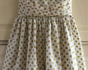 Retro 1961 Gold Dot dress Sz 6