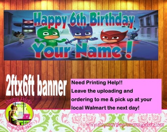 PJ Masks Birthday, PJ Masks Banner, Party Banner, PJ Masks Happy Birthday Banner // Owlette- Catbot- Gekko