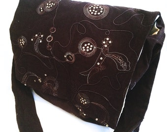 Brown Fabric Messenger Bag, Crossbody Purse, Boho Bag, Fabric Purse, Weekender Bag, Embroidered Bag, Sequins