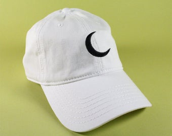 NEW Crescent Moon Baseball Hat Dad Hat Low Profile White Pink Black Casquette Embroidered Unisex Adjustable Strap Back Baseball Cap