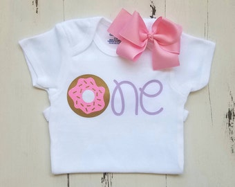 Baby girl first birthday onesie, First birthday outfit, Baby girl clothes, Donut onesie, Baby girl onesies, Onesie, Baby onesie,Baby clothes