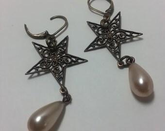 Pearl and Star earrings; Star Earrings; Filagree Earrings; Drop Earrings; Dangle Earrings