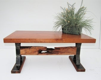 Wood Coffee Table, Wood And Steel Coffee Table, Living Room Table, Rustic  Table