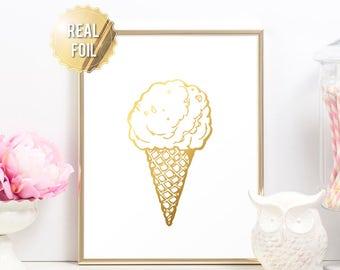 Ice Cream Gold Foil Print - Ice Cream Cone Print - Ice Cream Poster - Ice Cream Wall Art - Food Poster - Love Ice Cream Girls Room Decor