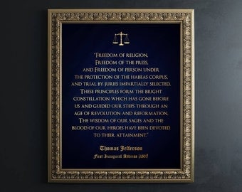 Law School Graduation Gift - Gold Foil Print - Thomas Jefferson Quote - Law Office Wall Art - Lawyer Gift - Gift for Law Students Lawyer Art
