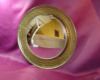 Witch mirror. Miroir de sorcière de banquier. No copy. Métal. Miroir convexe.  Vintage. France
