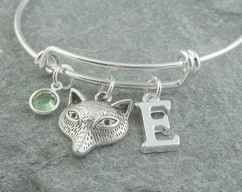 Fox bracelet, silver fox jewelry, fox charm bangle, initial bracelet, monogram bracelet, swarovski birthstone, personalized jewelry, for her