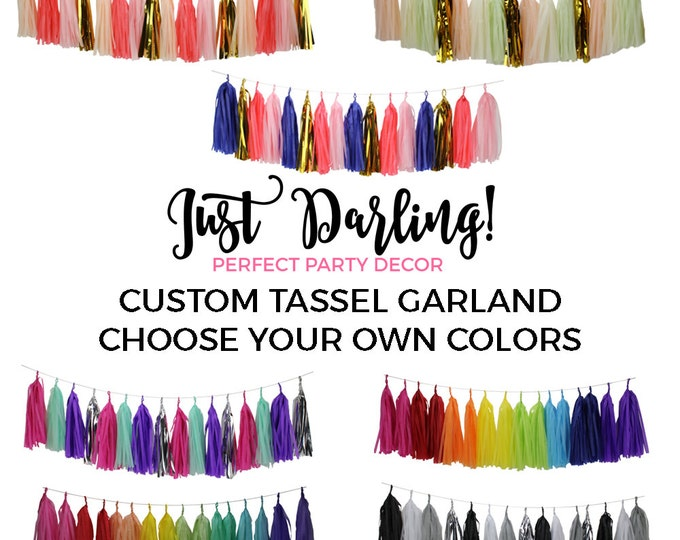 Tassel Garland Kit DIY - Custom - Pick Your Colors // Birthday Party, Baby Bridal Shower Decoration // Home Decor // Photo Prop or Backdrop