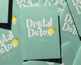 Digital Detox, Detox, healthy greeting card, digital, analog, minimalist, modern greeting card, contemporary, graphic design, Detoxkur, offline