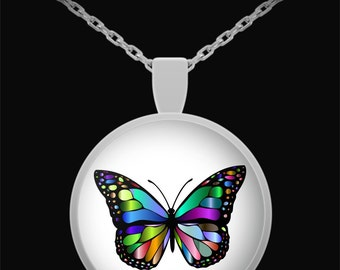 Rainbow Stained Glass Butterfly - Silver Pendant Necklace - Butterflies - Art - Jewelry - Gifts for Her - Made in the USA