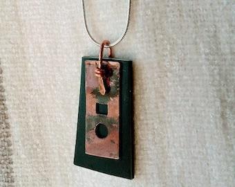 Black and copper mixed metal rectangular pendant