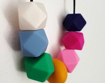 RAINBOW silicone bead nursing necklace/teething