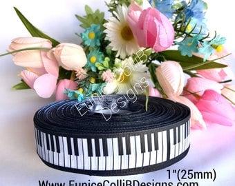 "1""Piano keyboard grosgrain ribbon"