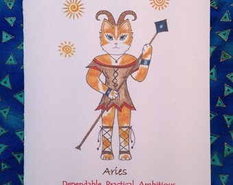 Aries Astrology Cat - Aries Cat - Zodiac Aries Cat Greeting Card- Any Occasion