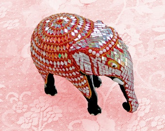 Decorative India Elephant Figurine-Ceramic-Intricate Mirror Embellishment Patterns-Good Luck for Celebrations/ Inaugurations/ Weddings/