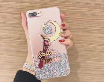 Sailor Moon Glitter Magic Power Stick iPhone 6 6s 7 Plus Clear Phone Case