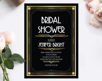 Great gatsby bridal shower art deco bridal shower great gatsby bridal shower invitation art deco bridal shower invitation bachelorette party