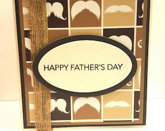 Father's Day Card, Beard Card, Mustache Card, Handmade Card, Custom Card, Birthday Card