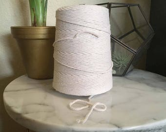 3 mm 4 mm 8 mm Cotton Macrame String, Bulk Macrame Cord, Craft Twine, Natural Cotton Rope, Twisted Ecru