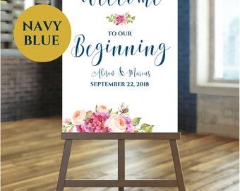Wedding Welcome Sign | Welcome To Our Beginning | Welcome To Our Wedding | Navy Wedding Calligraphy Sign | Boho Wedding SKU#  IDWS503_3519C