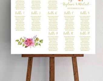 Bohemian Wedding Seating Chart, Watercolor Wedding Decor, Gold Wedding, Pink Peony, Wedding Sign, JPG PDF, Digital Download #IDWS503_4011C