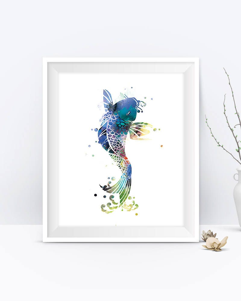 Koi fish art print koi fish wall art poster nature abstract for Koi carp wall art