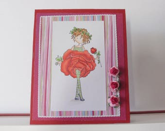 Rose card - Any occasion card - Blank double greeting card - Hand colored - Main card color is red
