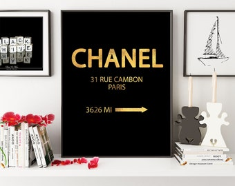Chanel 31 Rue Cambon Paris, Faux Gold Foil Print, Printable Art, Coco Chanel Print, Fashion Print, Office Decor, Chic Room Decor, Glamour