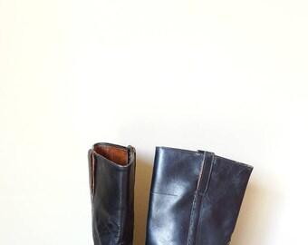 Mens army boots biker size 7.5 black leather boots men grunge 90s black military boots vintage size EU 40