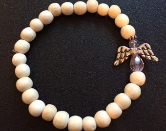 Guardian Angel Bracelet - White wooden beads with pink angel