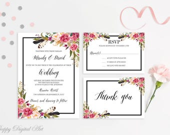 Roses Wedding Invitation Printable Floral Wedding Invitation Boho Wedding Invite Magenta Wedding Invite Spring Summer Wedding Rose Wedding