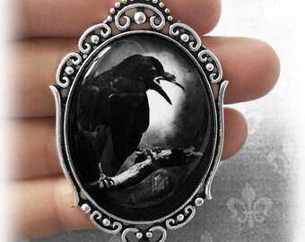 Gothic Raven Necklace, Glass Cameo Crow Pendant, Gothic Jewelry, Alternative Jewelry, Gothic Gift, Handmade Jewellery