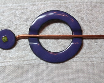 Shawl/Scarf Pin - Hand Hammered Copper - Vitreous Enamel - GRAPE WITH MILLEFIORI