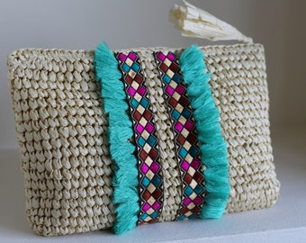 Straw Beach Purse, Natural Clutch, Purse Bag, Bridesmaid Clutch, Beach Pouch, Raffia Clutch