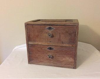 Old Wood Box, Rustic Farmhouse Decor, Office, Bedroom Decor, Vintage Wood Storage Box, 2 Drawer, Vintage Glass Knobs, Primitive Decor