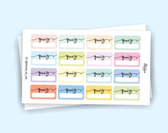 Quiz Planner Stickers / School Stickers / Label Stickers / Pastel Stickers for use with Erin Condren LifePlanner™ / Minimalist | KA37