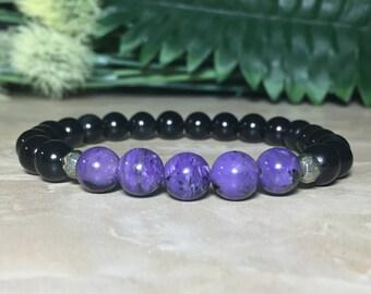 Genuine Charoite Bracelet, Black Obsidian Bracelet, Protection Bracelet, Unconditional love, Grounding, Heart Chakra, Third Eye Chakra